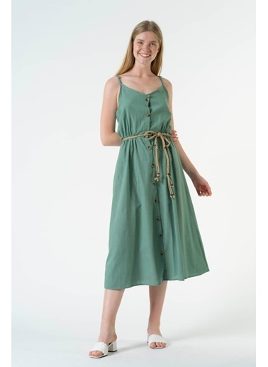 Reyon ıp Askılı Düğmeli Uzun Elbise Kiremit Yeşil